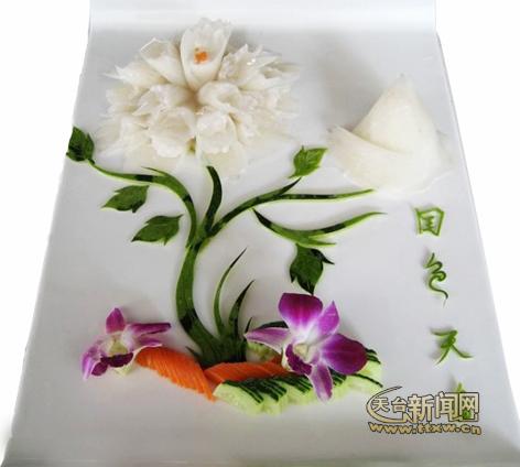 西瓜皮雕刻水果拼盘_西瓜皮雕刻水果拼盘设计图片